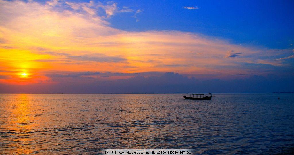 小船 海面 平静 水波 太阳 蓝天 倒影 摄影 自然景观 自然风景 3dpi