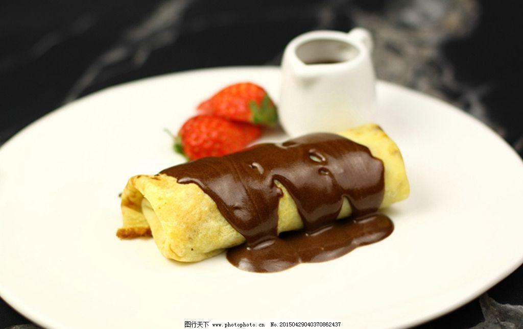 法式煎饼配黑巧克力沙士图片_西餐美食_餐饮