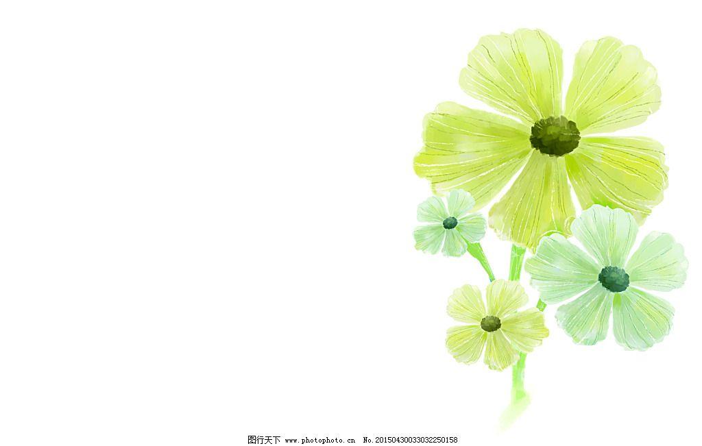 绿色漂亮手绘花朵