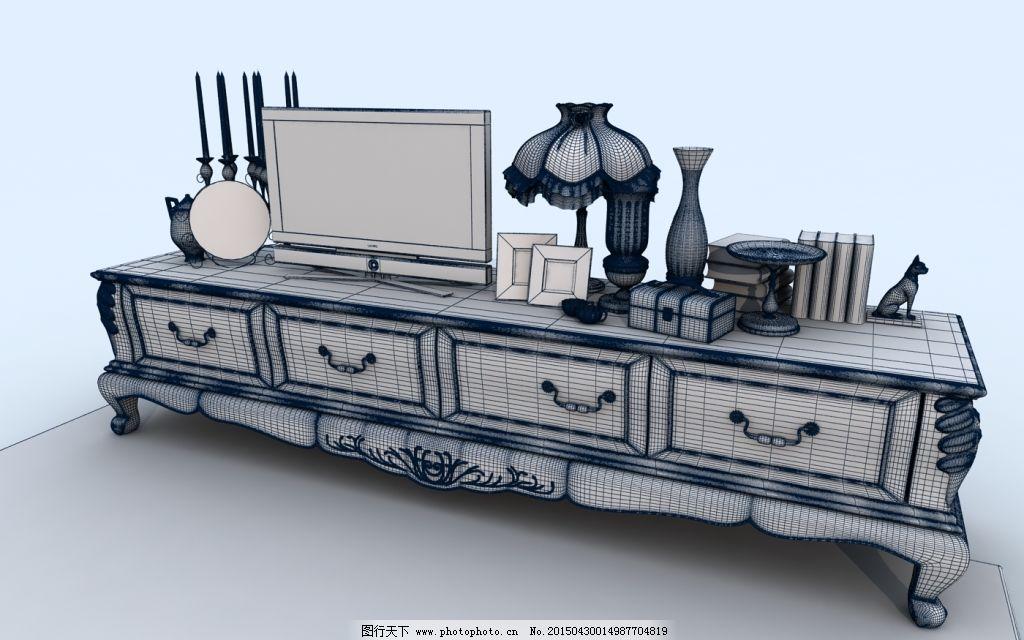 桌柜台灯书装饰模型成组