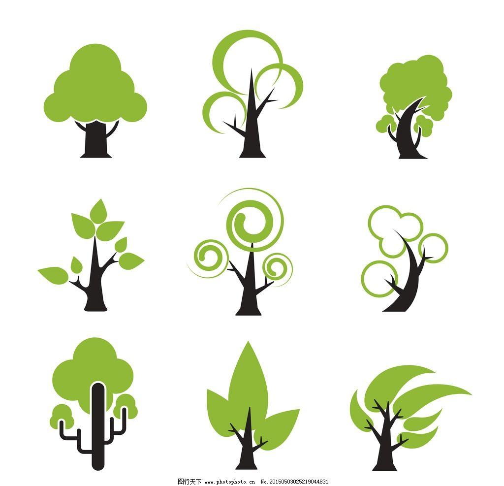 绿树 绿叶 绿植 树叶 树木 手绘树木 树木贴图 植物 生物世界 矢量