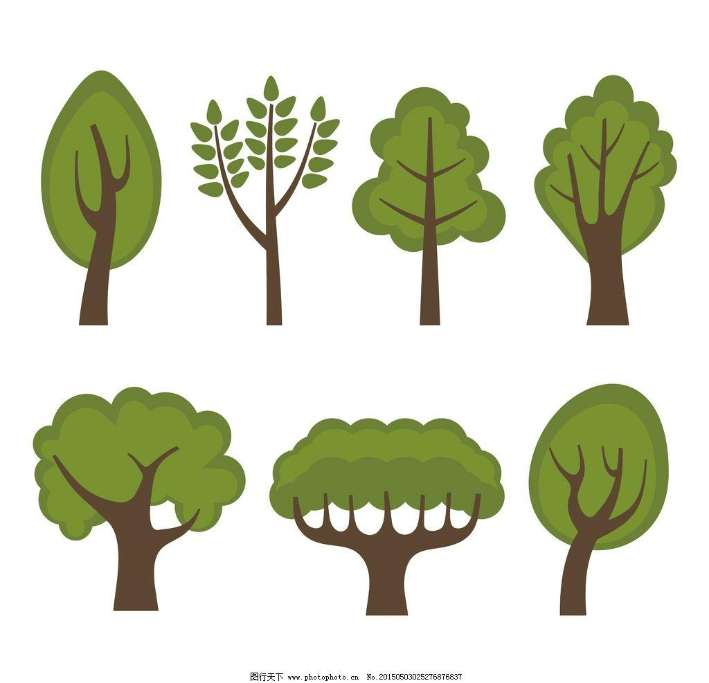 绿树 绿叶 绿植 树叶 树木 手绘树木 树木贴图 植物 生物世界 矢量 ep