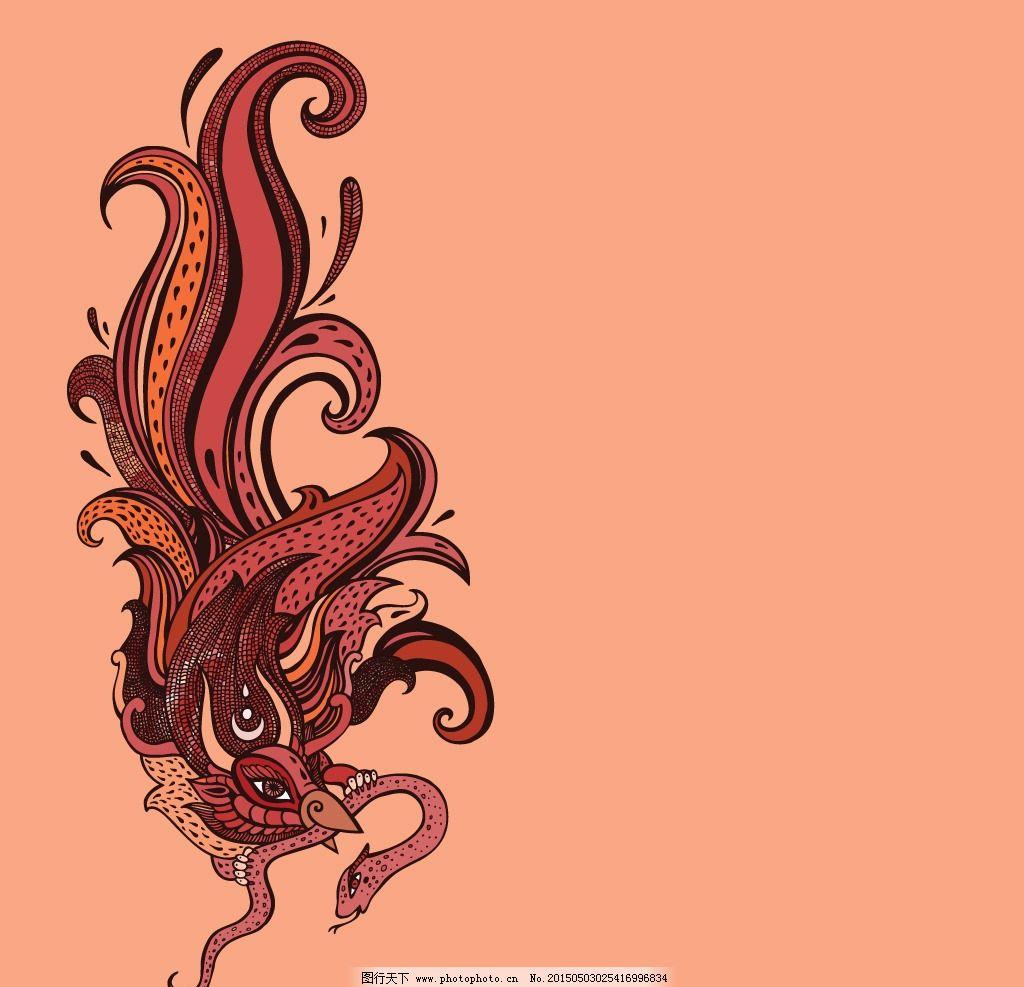 凤凰 纹身图案 纹身 吉祥 图腾 火凤凰 手绘 图案 背景底纹 设计 矢量