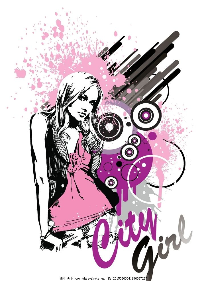 手绘少女 女孩 女人 彩色墨迹 少女 时髦 女性 都市女性 抽象插图