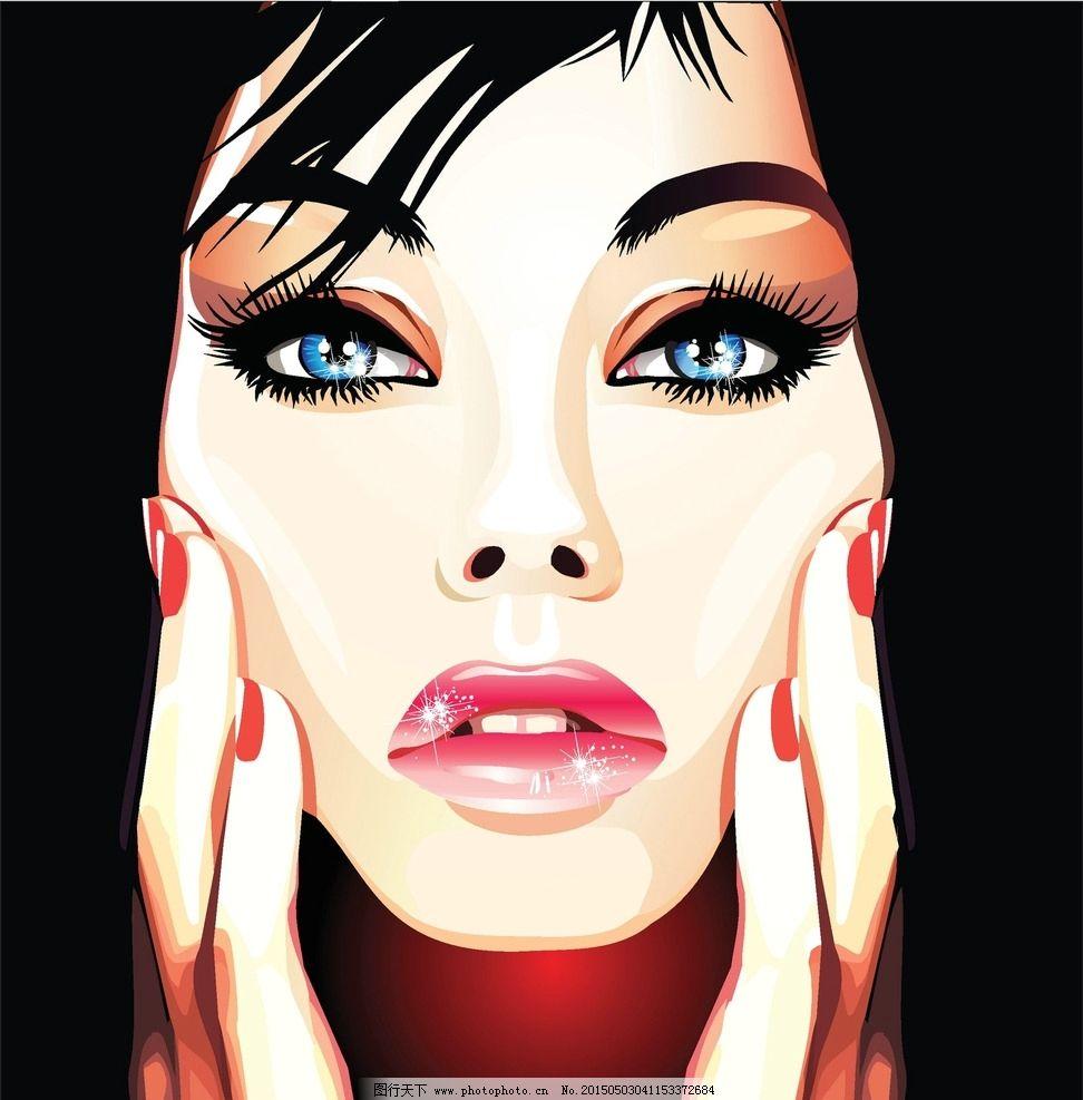 时尚美女 手绘少女 女孩 女人 少女 时髦 女性 都市女性 抽象插图
