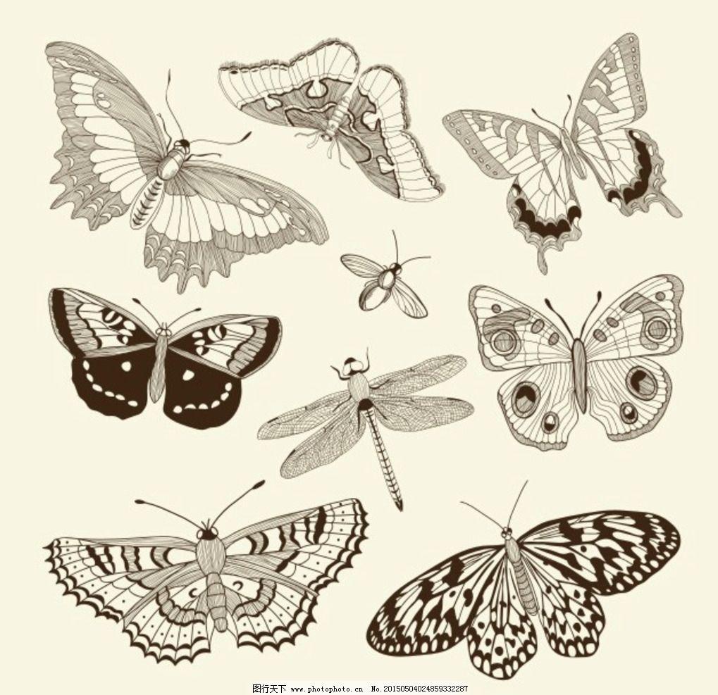 蝴蝶花纹 蝴蝶 花纹 爱心 蜻蜓 可爱 卡通 时尚 梦幻 背景 设计 生物