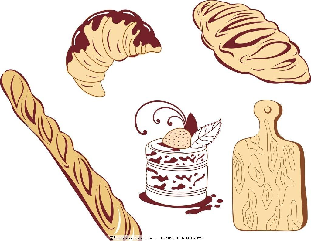 矢量卡通蛋糕 蛋糕矢量素材 矢量素材 卡通面包 矢量面包 手绘素材
