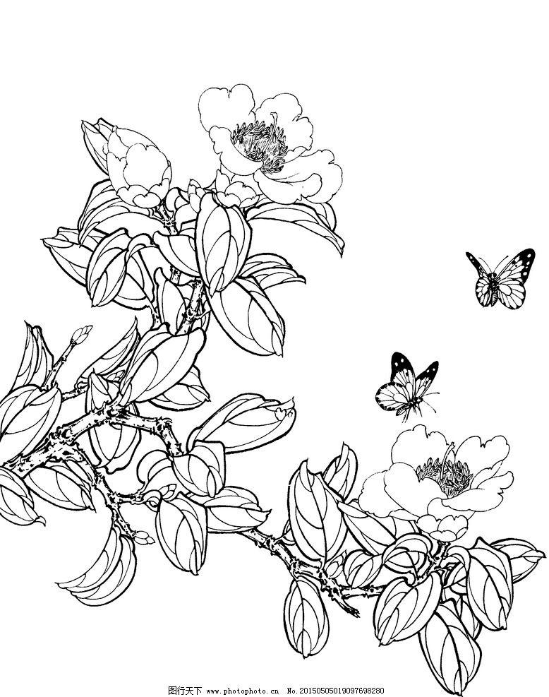 手绘黑白画蝴蝶