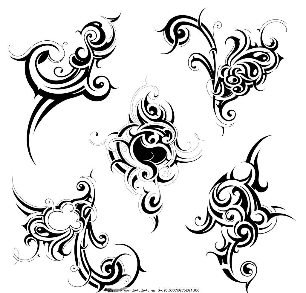 纹身图案 手绘 花纹 纹样 花边 纹身 设计 矢量 eps 设计 底纹边框