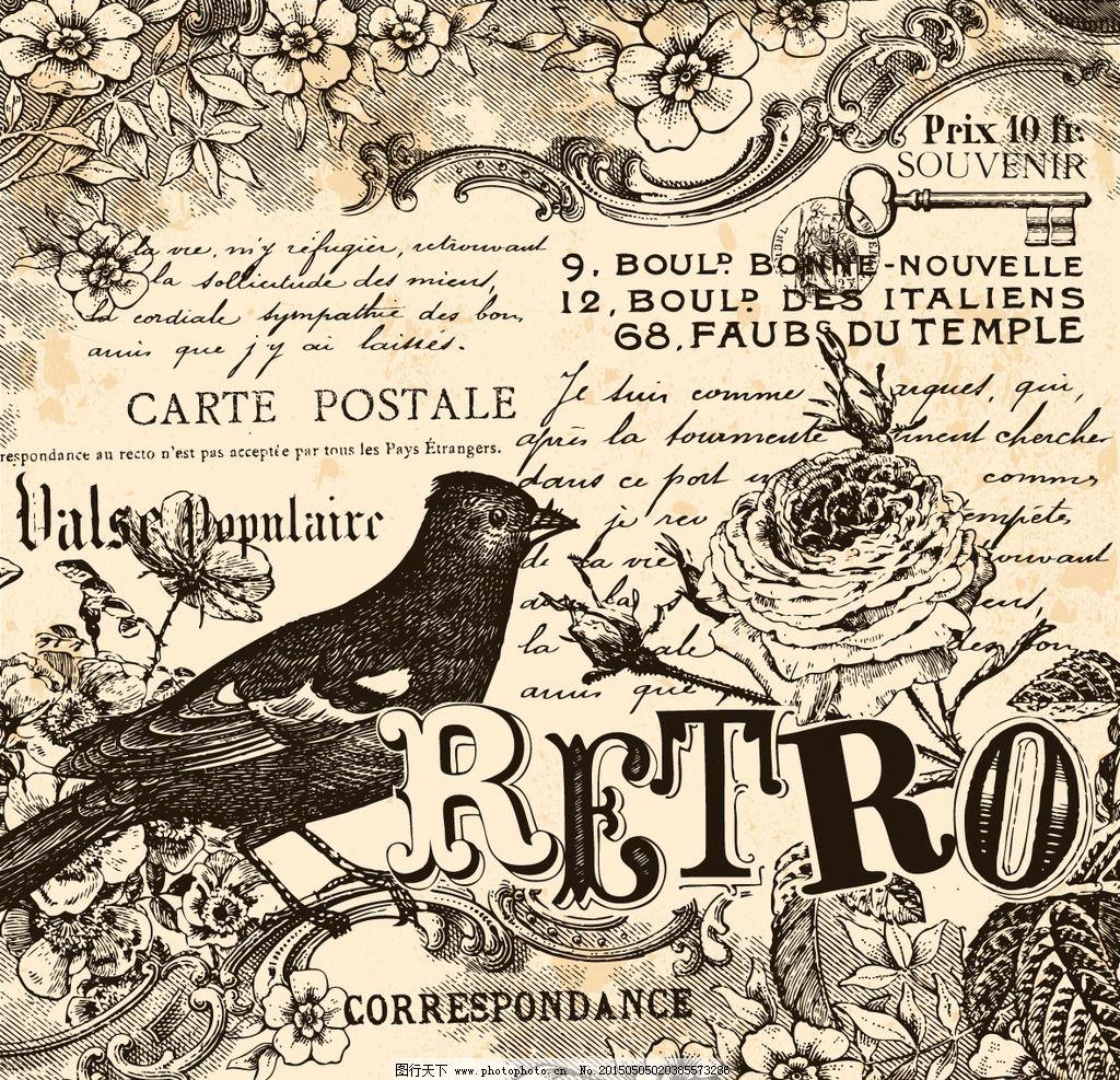 复古哥特风手绘钢笔素描小鸟英文图片
