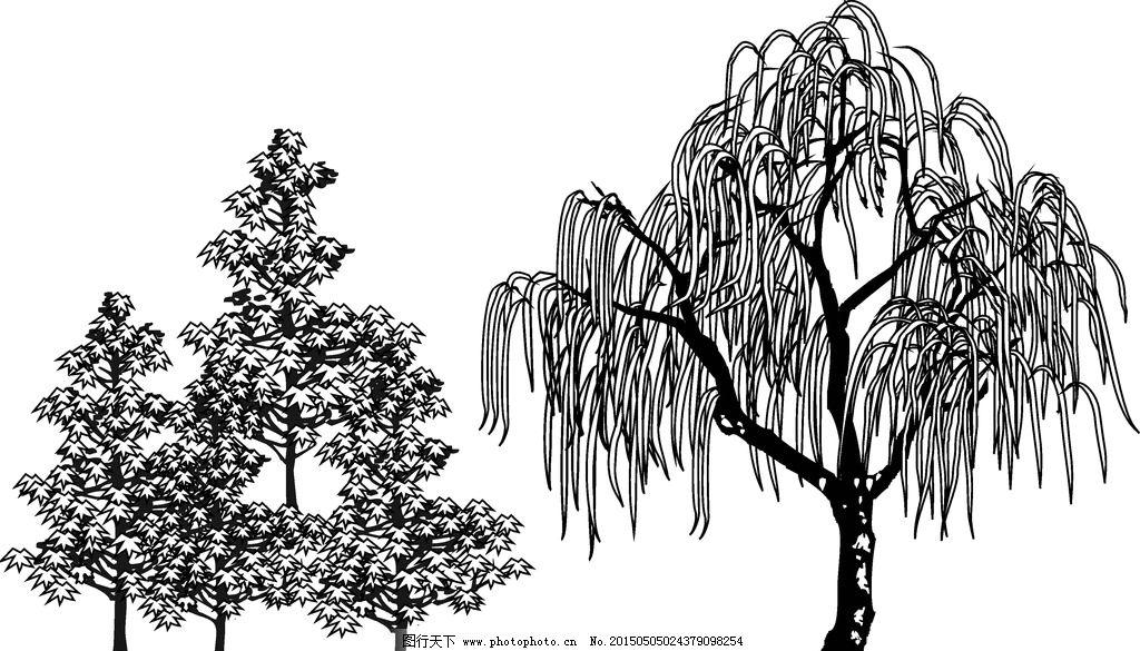 景观手绘树木组合线稿