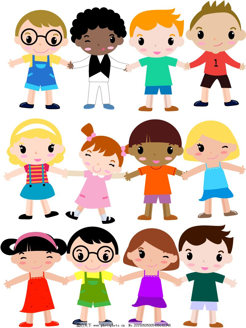 男孩 女孩 儿童 卡通 孩子 手拉手 矢量图 eps格式 矢量人物