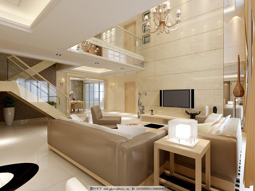 复式客厅素材_室内设计_装饰素材_图行天下图库