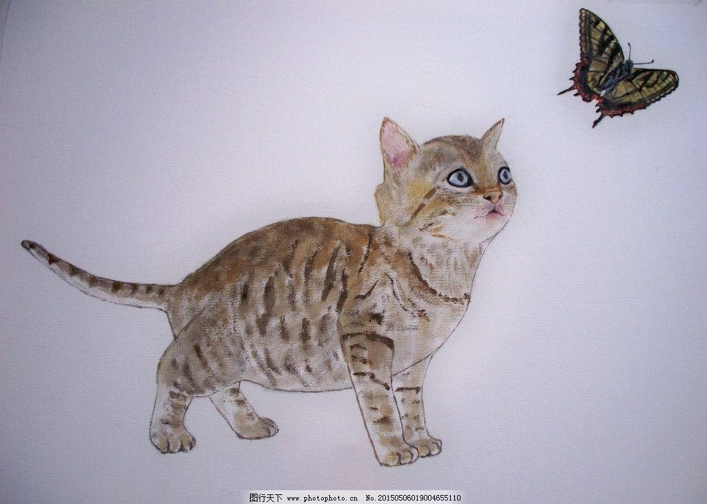 油画 小猫咪 蝴蝶 母猫 小动物 花蝴蝶 原创 设计 文化艺术 绘画书法