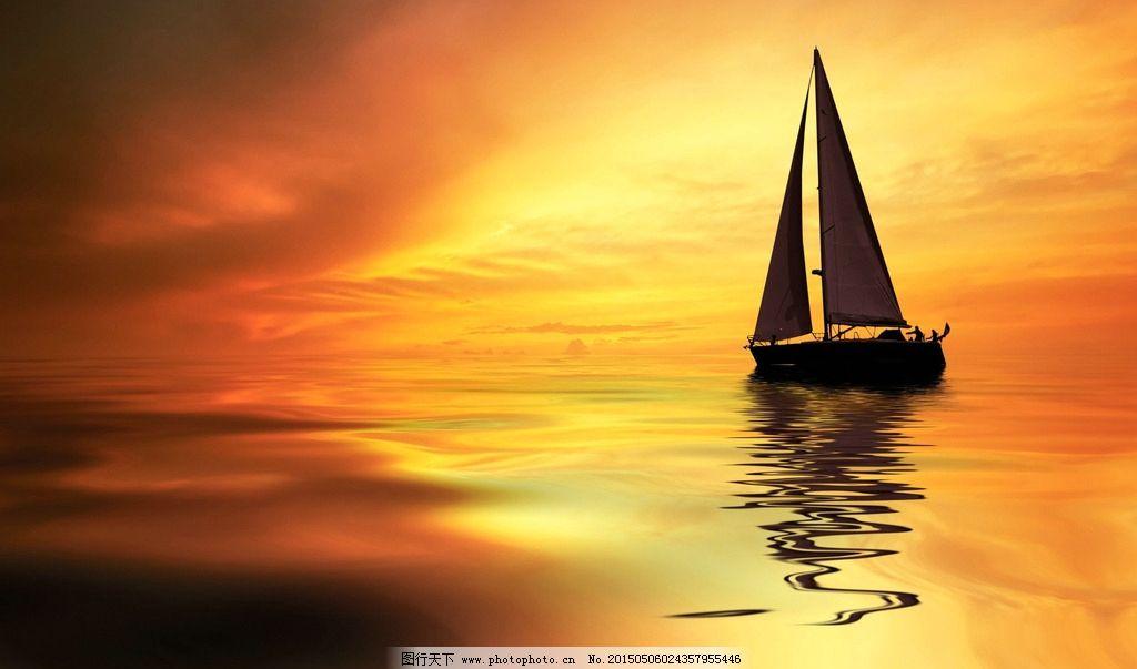 夕阳 海面 大海 帆船 船 日落 设计 自然景观 其他 72dpi jpg