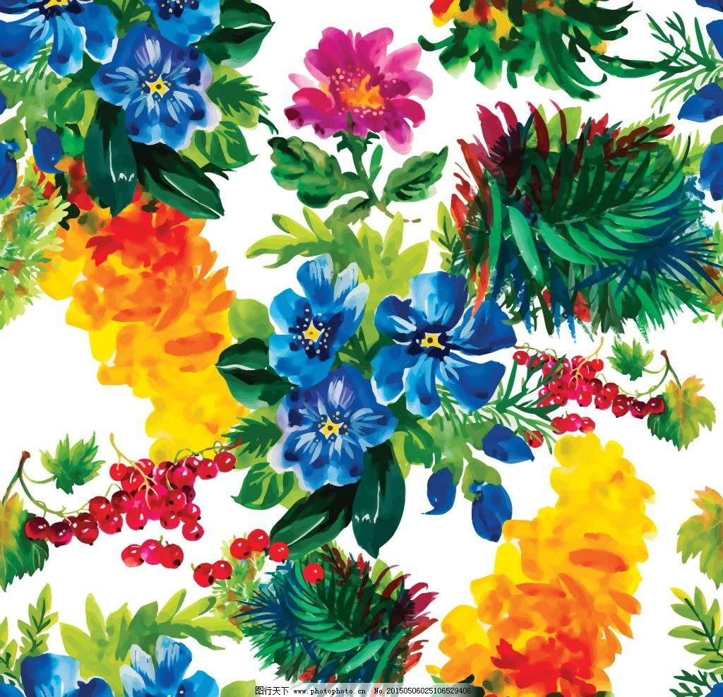 无缝花卉 花朵图案 鲜花 水彩 绿叶 兰花 壁纸装饰画 插图 设计 矢量