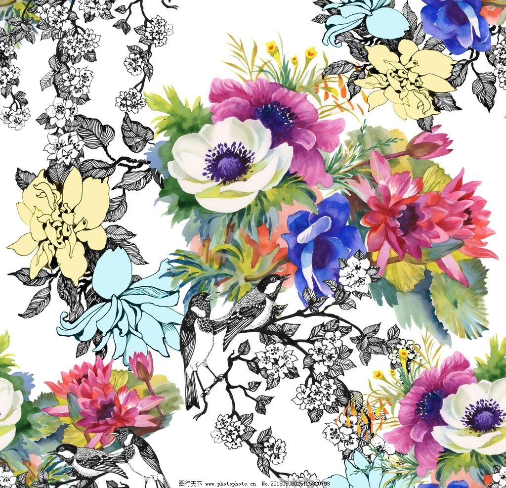 无缝花卉 花朵图案 鲜花 水彩 绿叶 莲花 壁纸装饰画 插图 设计 矢量
