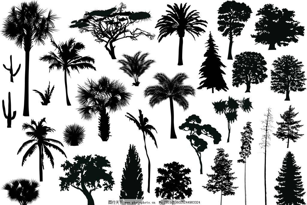 树木剪影 树木轮廓 树叶 灌木 手绘树木 树木贴图 植物 园林 树木插图