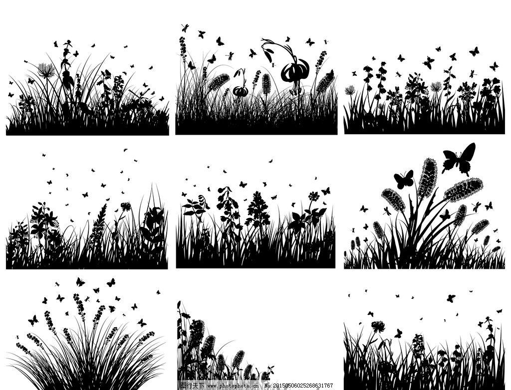 小草剪影 轮廓 蝴蝶 花草 手绘 矢量 eps 设计 生物世界 树木树叶 eps