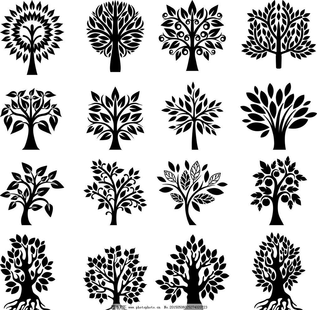 树木剪影图片,树木轮廓 树叶 灌木 手绘树木 树木贴图