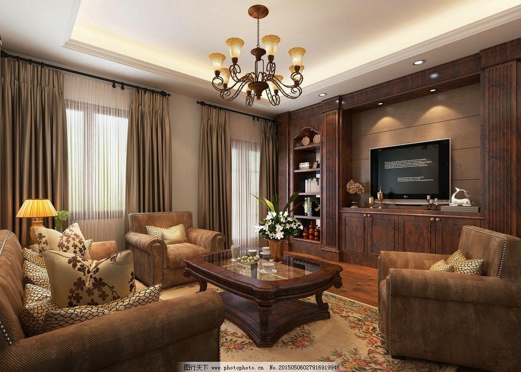 简欧别墅客厅效果图图片
