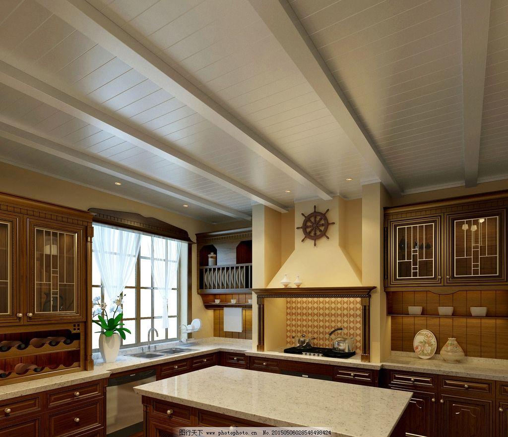 欧式厨房木吊顶效果图图片