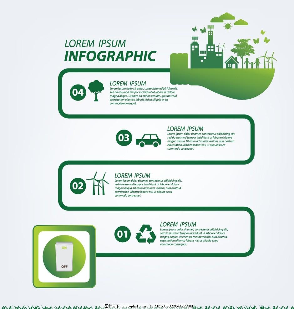 图表 版式设计 目录 环保 生态 能源 绿叶 保护地球 商务图表