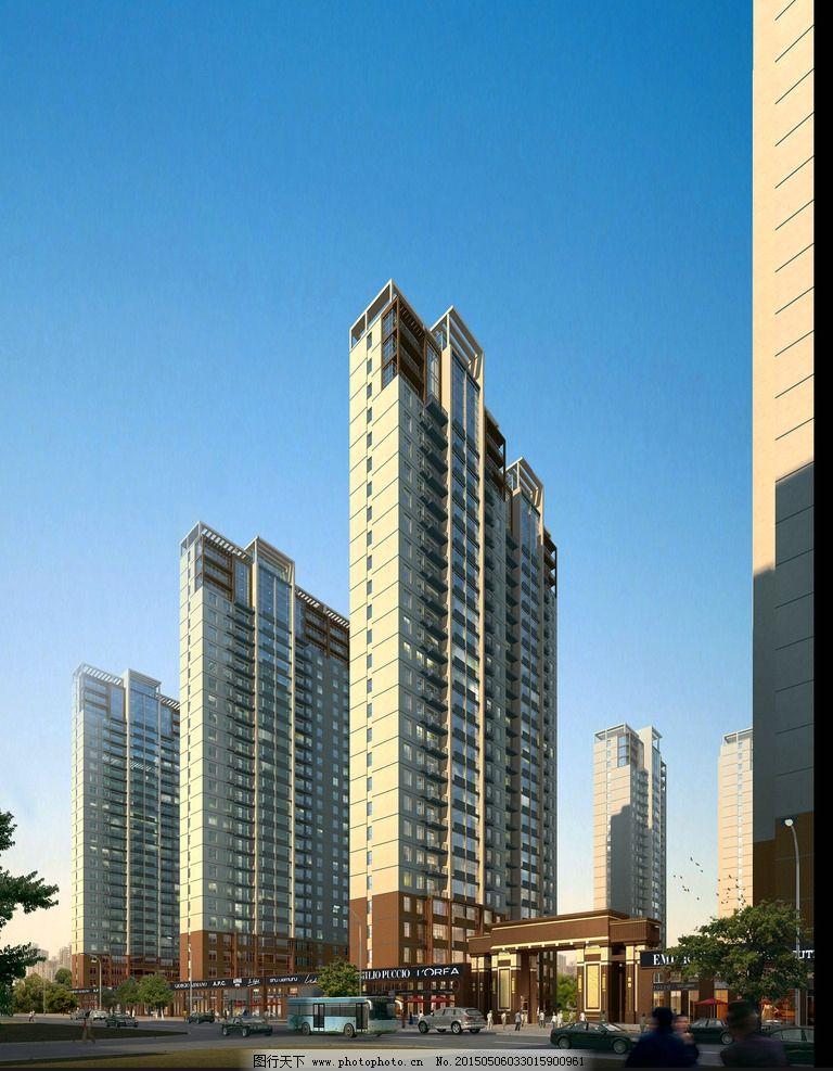 高楼效果图 高楼透视图 房屋效果图 大厦效果图 写字楼效果图 道路