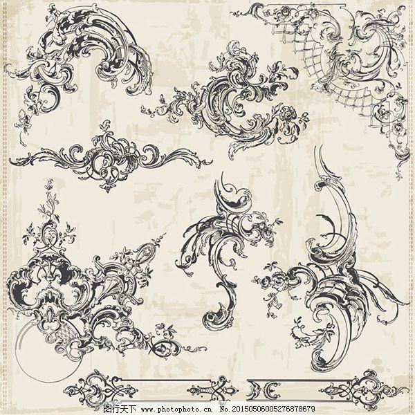 古典欧式装饰花纹矢量图