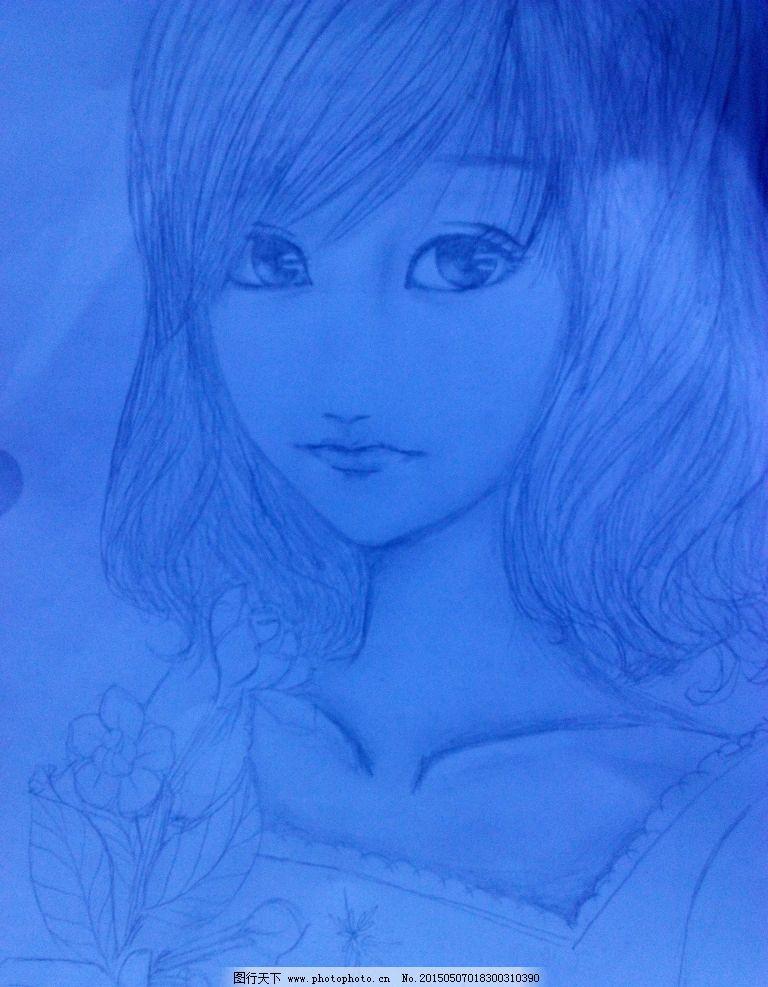 手绘 铅笔画 栀子花