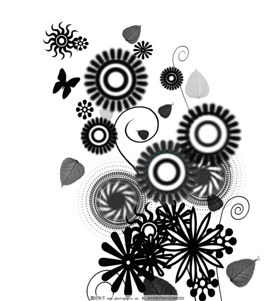 简笔画 图案 图案花团 图案素材 装饰画素材 黑 设计 底纹边框 花边