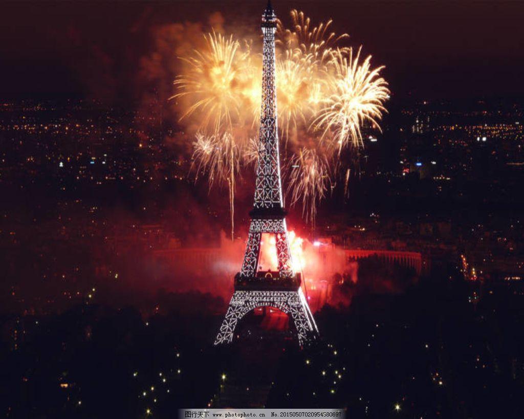 法国埃菲尔铁塔烟花夜景
