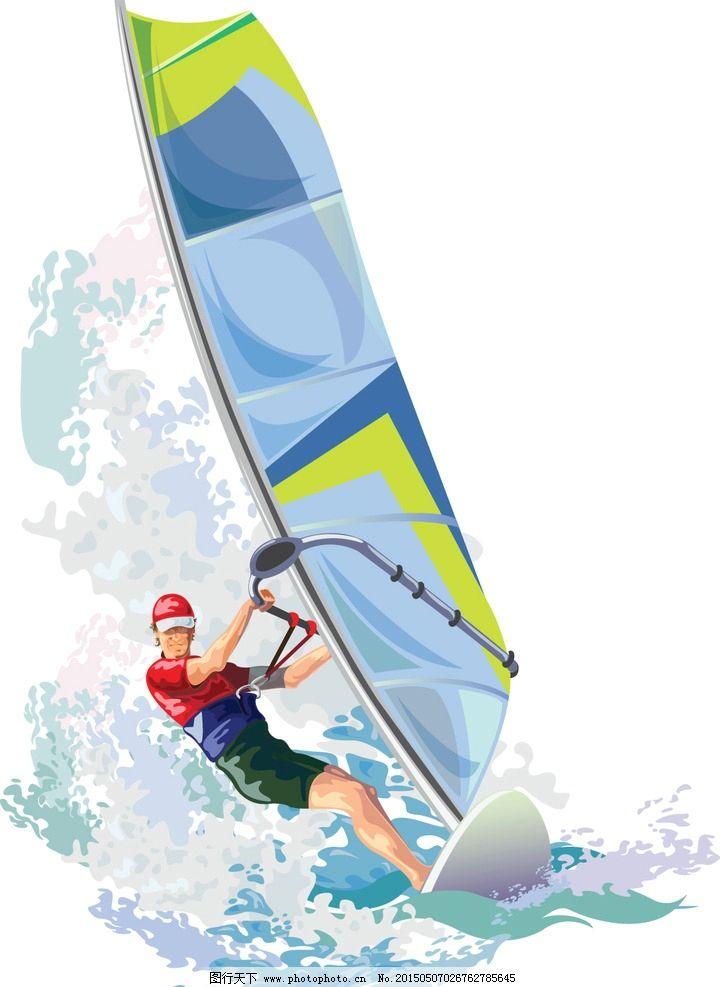帆船 浪花 海浪 手绘 设计 矢量 eps 设计 现代科技 交通工具 eps