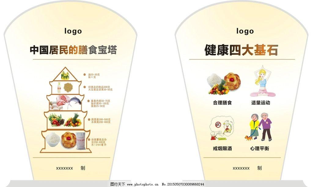 台卡设计 膳食宝塔 四大基石台卡 健康台卡 台卡造型 健康知识 设计
