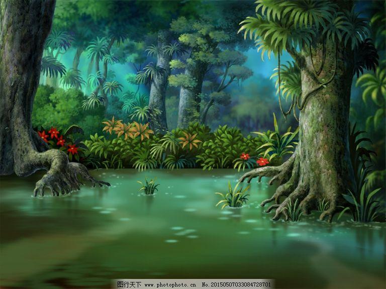 森林场景插画素材_其他_psd分层_图行天下图库图片