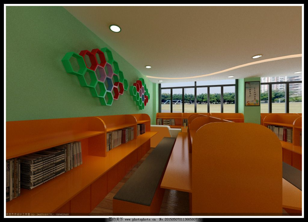 图书馆前台效果图_室内设计_装饰素材_图行天下图库
