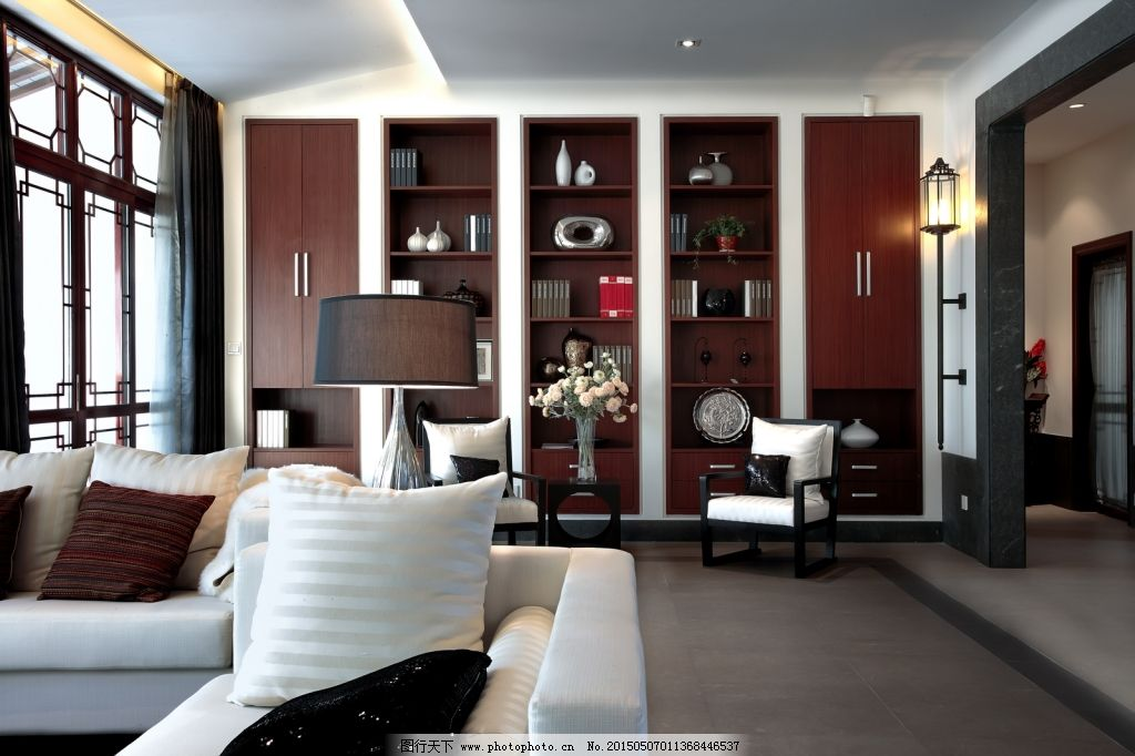 中式客厅效果图_室内设计_装饰素材_图行天下图库