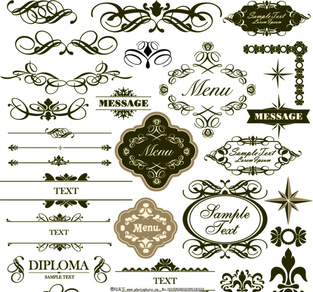 欧式花纹 花边 欧式风格 各类花边 超炫花纹 设计 底纹边框 花边花纹