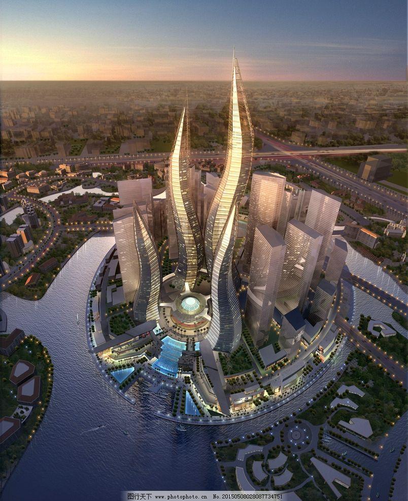 金融中心建筑鸟瞰图图片_建筑设计_环境设计_图行天下