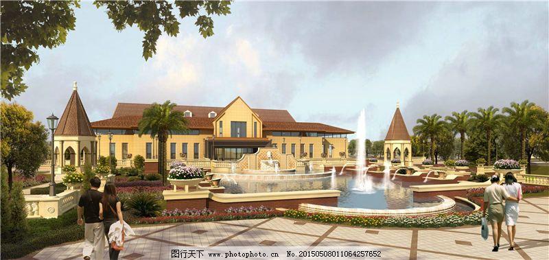 建筑家居 建筑园林 模型 欧式建筑 透视图 透视图 模型 线描 psd效果