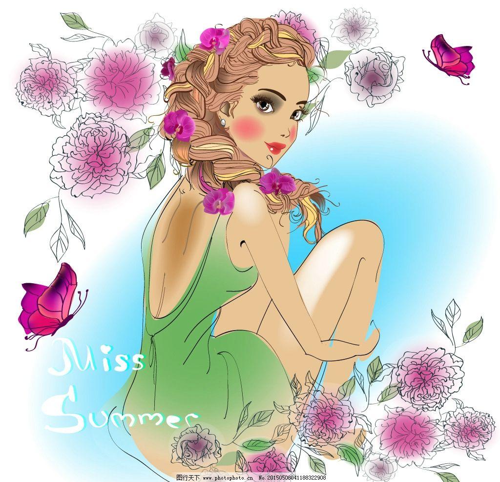 小女孩 手绘少女 女人 蝴蝶 时尚美女 卡通女生 简笔画插图 矢量