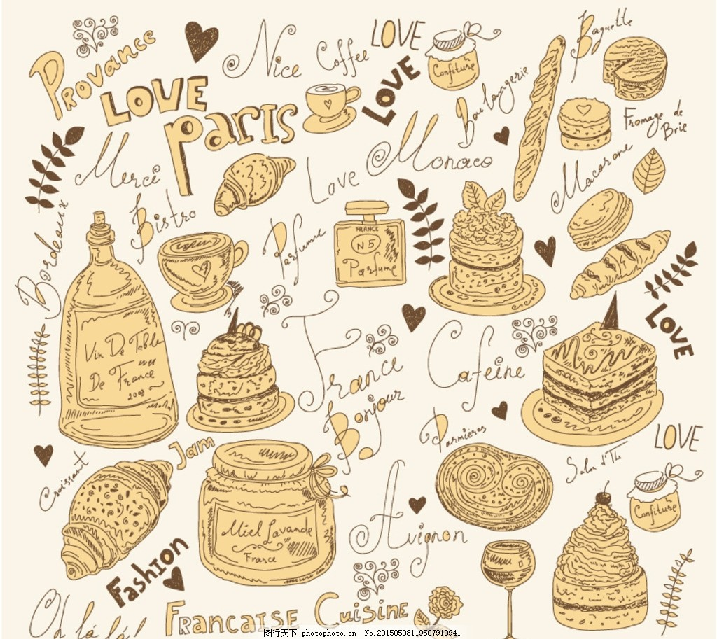 手绘食物插画矢量素材 卡通 食品 美食 美味 艺术字 字体 立体字