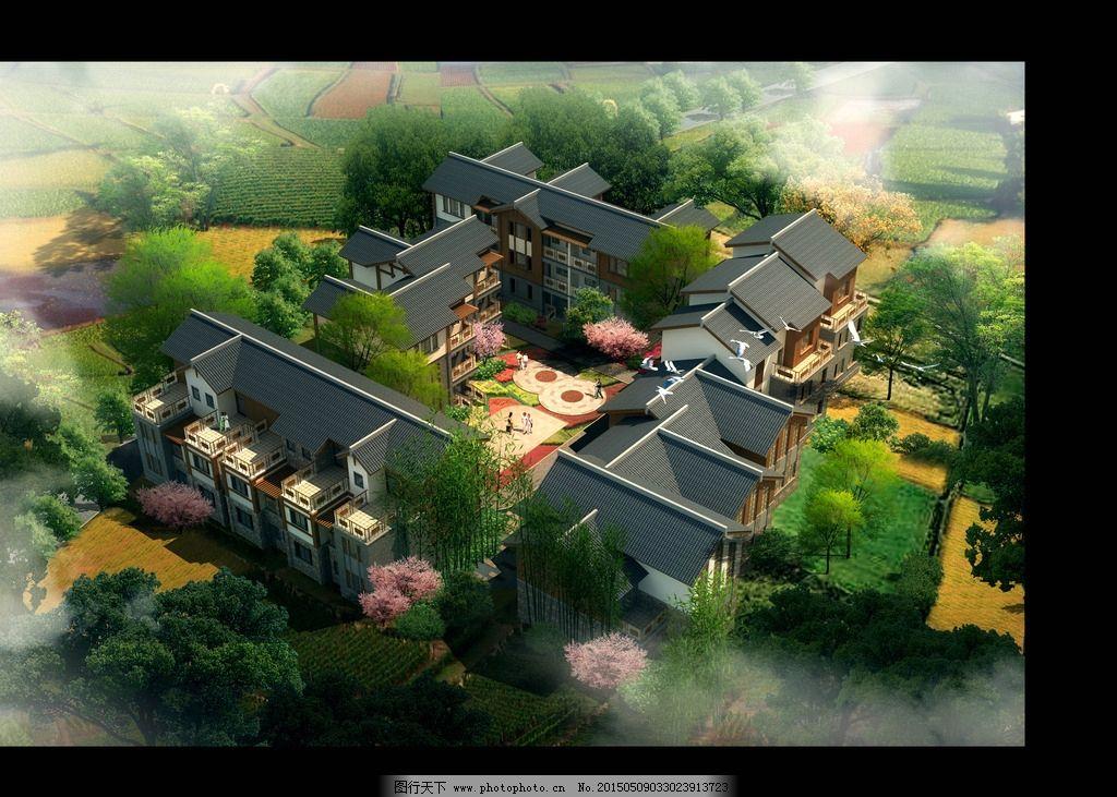 园林 景观        绿化 psd 鸟瞰图 乡村 农田 园林绿化 设计 psd分层