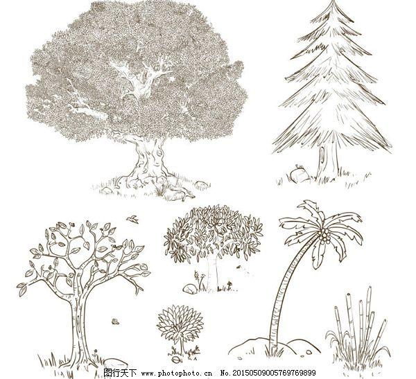 手绘树木设计矢量图免费下载 榕树 松树 椰子树 竹子 手绘树木设计