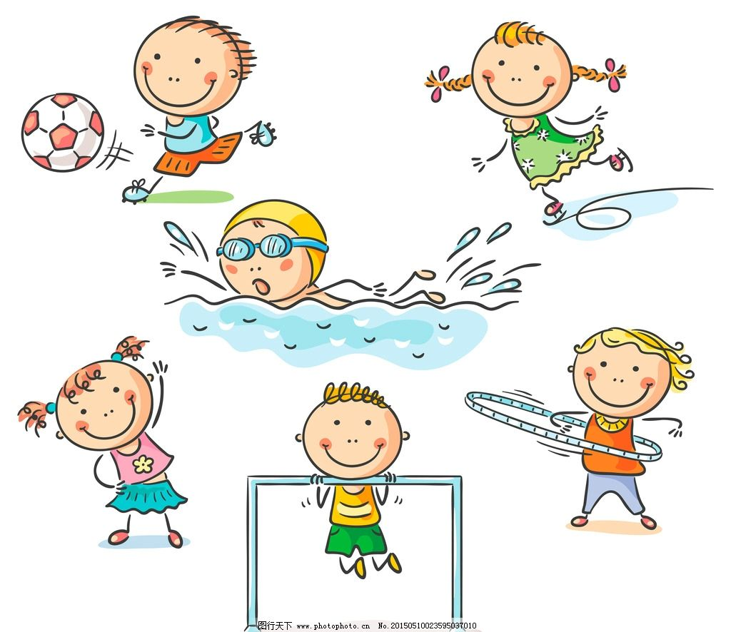 卡通儿童 小学生 手绘 游泳 踢足球 小女孩 男孩 插图 快乐儿童