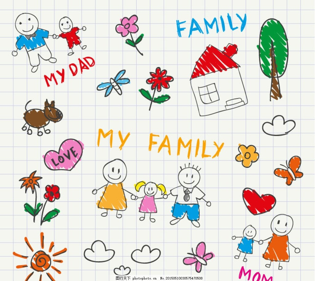 儿童手绘风格家庭插画矢量素材