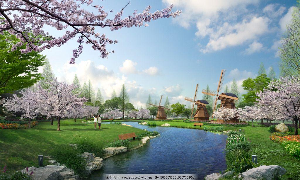 风景园林分_旅游风景区 旅游风景区免费下载 景观 桃花 小河 装饰素材 园林景观