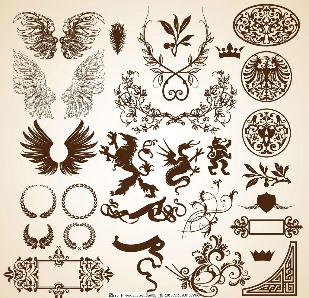 纹章 翅膀 勋章 边框 装饰边框 徽章 图腾 狮子 飞龙 皇冠