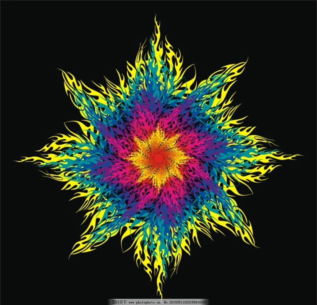 炫 炫彩 图纹 花纹 图案 火红太阳 火焰 火环 火圈 红色 蓝色 科学