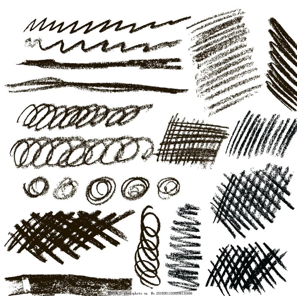 手绘设计元素 杂乱线条 铅笔 涂鸦 矢量